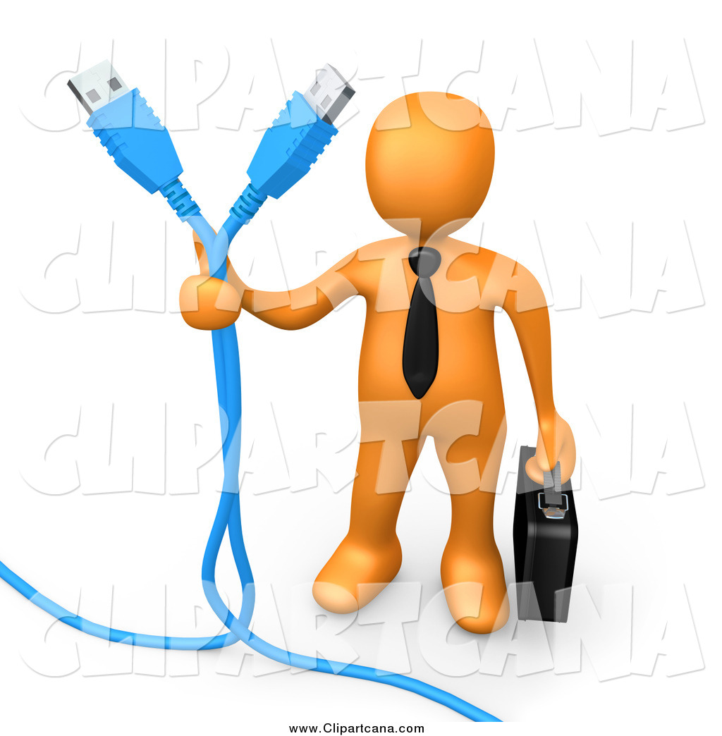 Clip Art of a 3d Orange Business Man Holding Two Blue Computer.