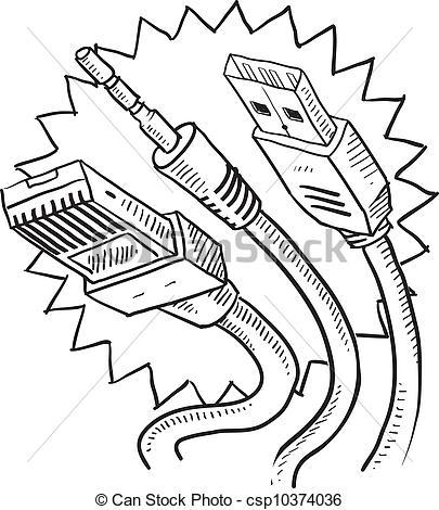 Vectors of Computer cables sketch.