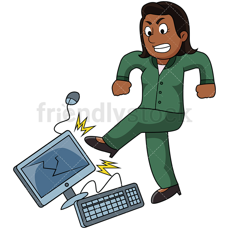 Black Woman Kicking Computer With Anger.