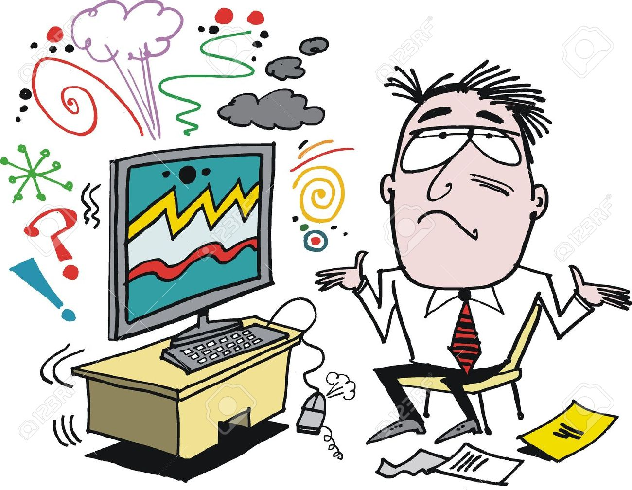 Vector cartoon of angry man with defective computer.