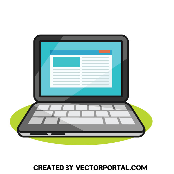 Laptop computer cartoon clip art.