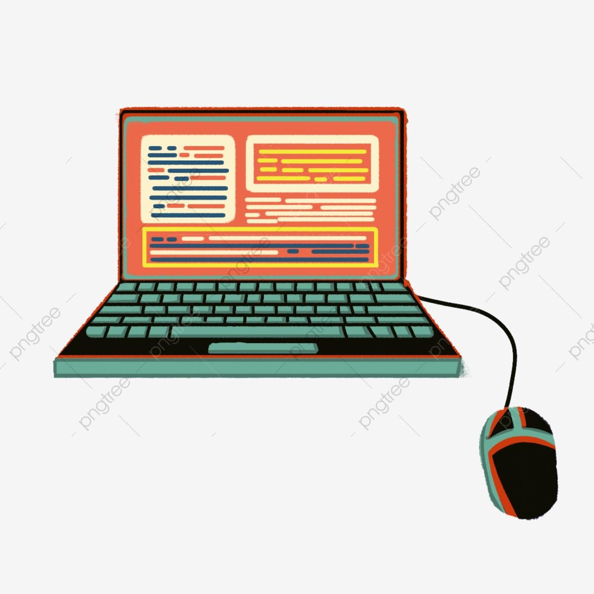 Hand Drawn Cartoon Laptop, Hand Painted, Cartoon, Computer PNG.