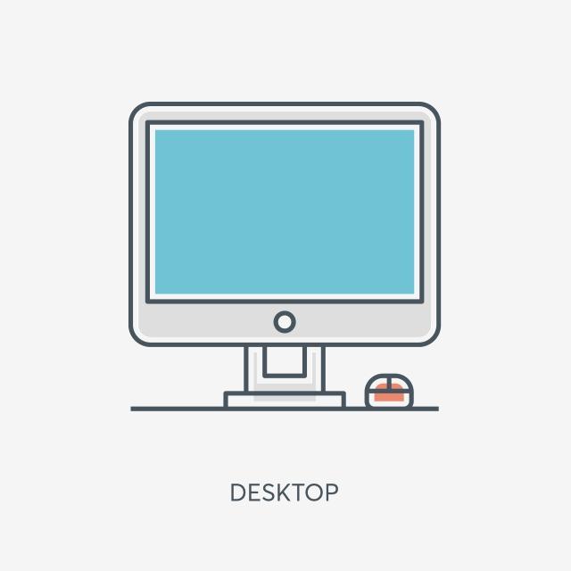 Cartoon Computer Icon Free Illustration, Office Computer, Small.