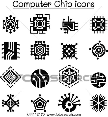 Computer Chips and Electronic Circuit icons Clipart.