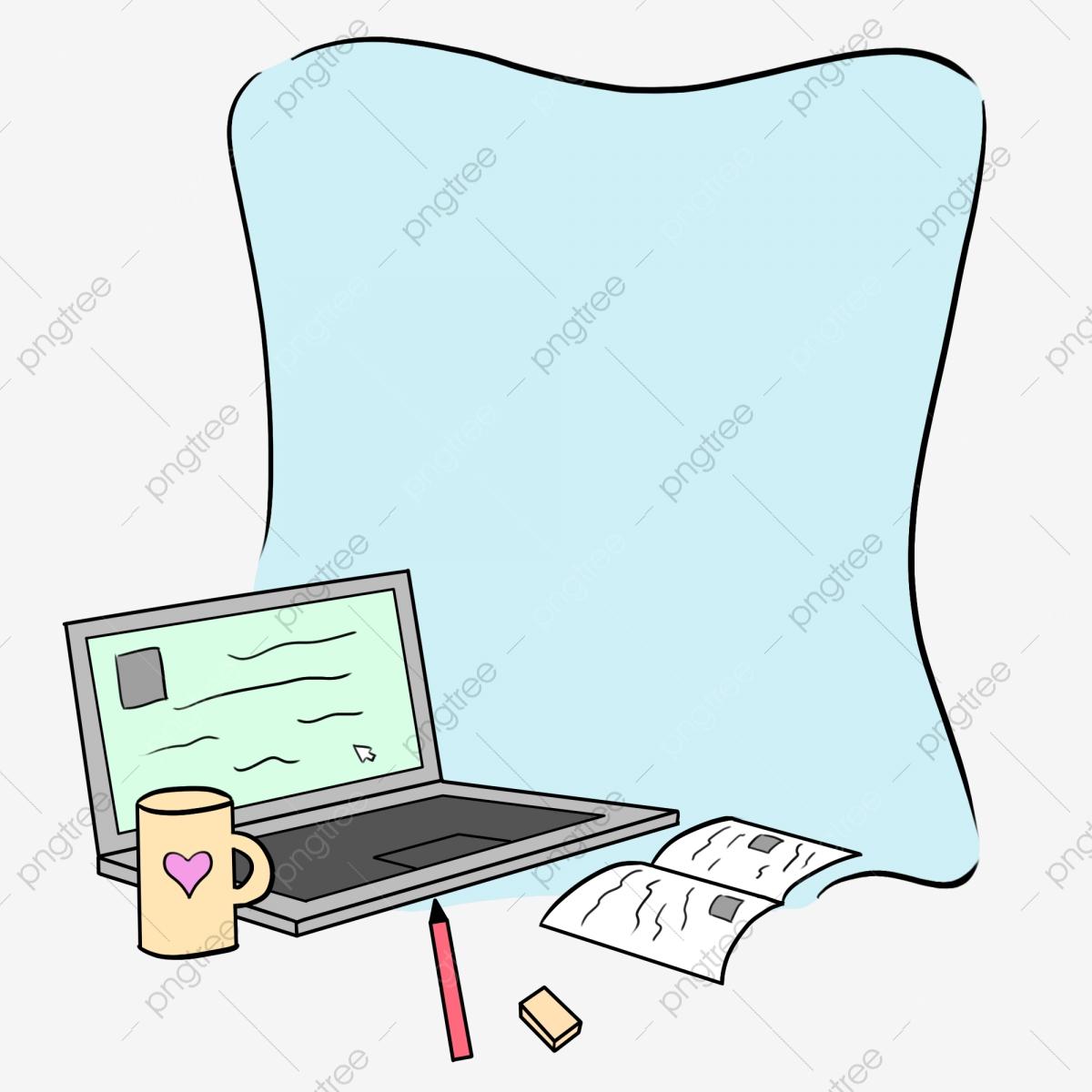 Cartoon Learning Tools Computer Frame, Hand Drawn Illustration.