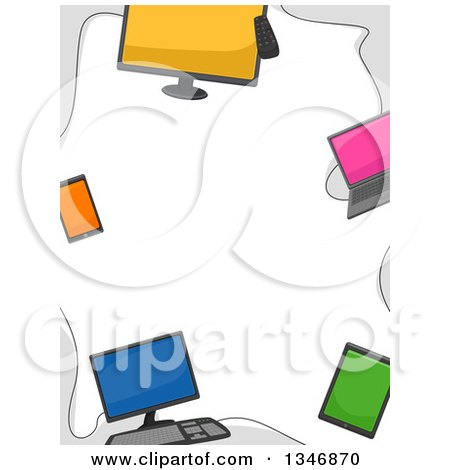 Clipart of a Border of Computers, Laptops, Smart Phones and Tablets.