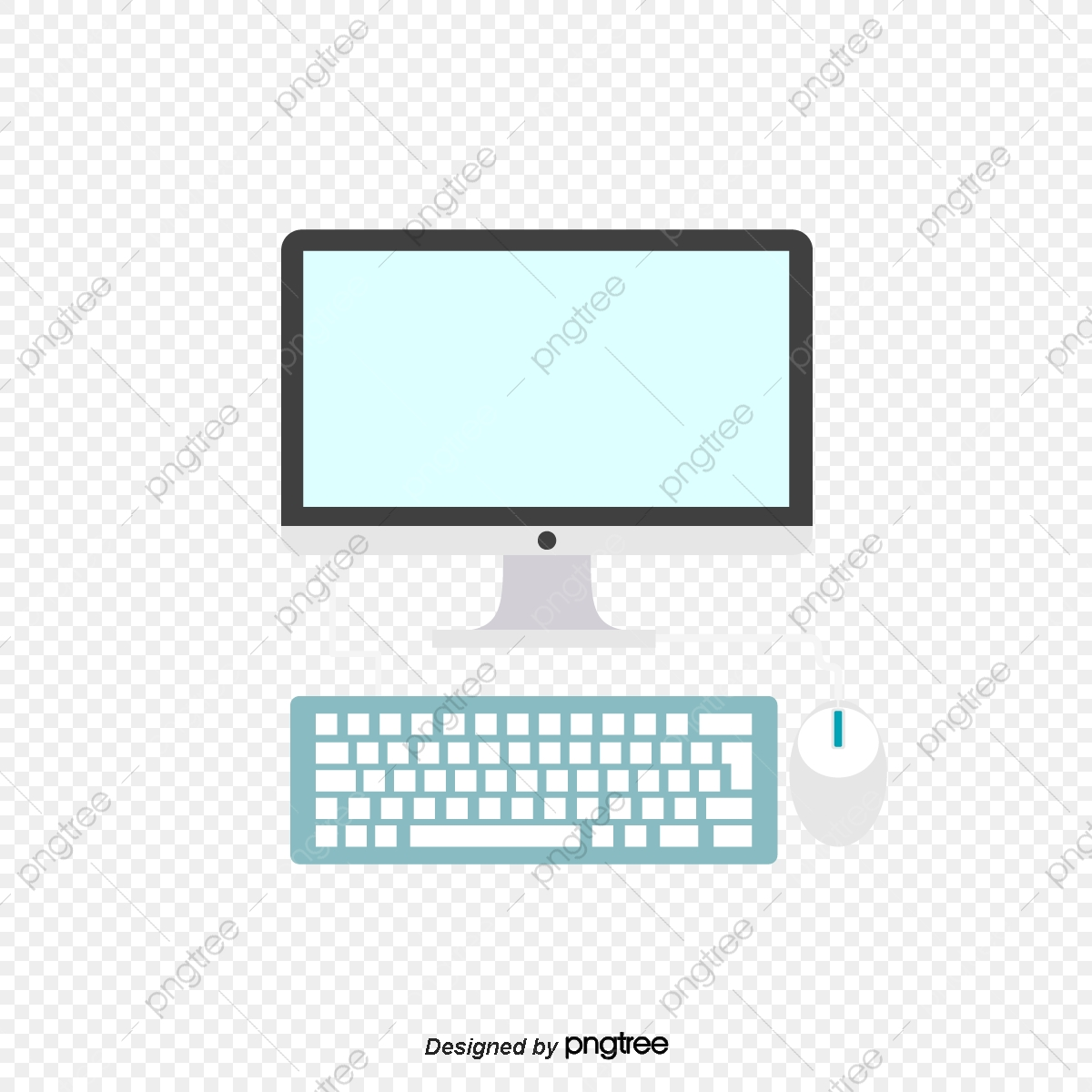 Vector Color Home Office Desktop Computer, Color Clipart, Home.