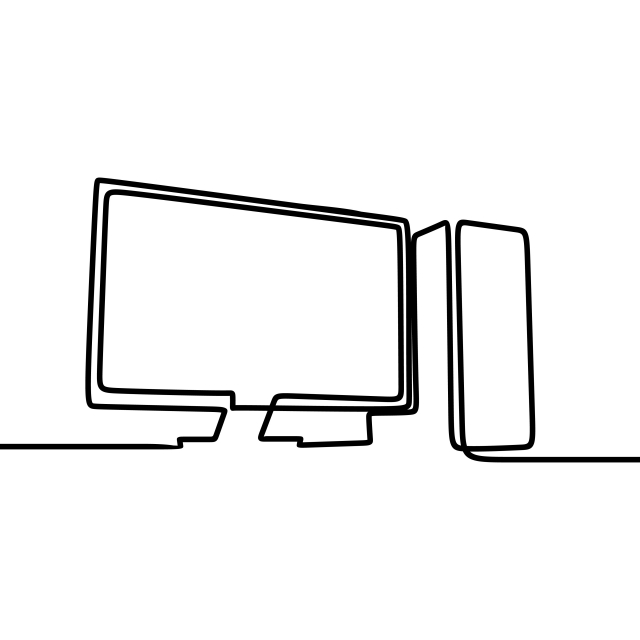 Computer Single Line Drawing Vector Illustration, Computer, Monitor.