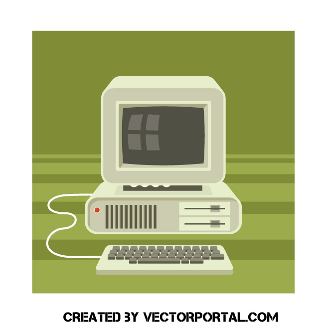 Old computer vector clip art.