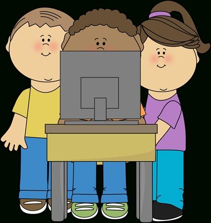 Kids Using School Computer Clip Art.