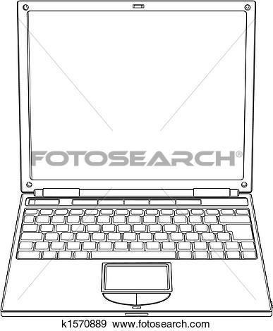 Clip Art of Laptop outline vector illustration k1570889.