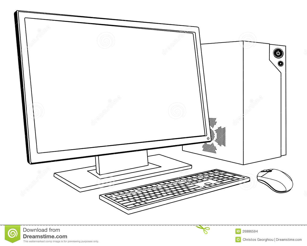 Computer Outline Screen Stock Illustrations.