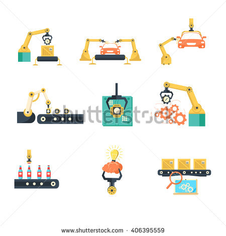 Industrial Automated Assembly Line Flat Icons Set With Computer.
