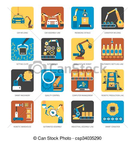 EPS Vectors of Industrial Assembly Line Flat Icons Set.
