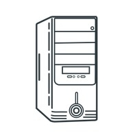 Computer Cpu Clipart Black And White.