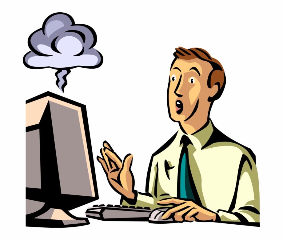 Vector Illustration Of Exacerbated Businessman's Computer.