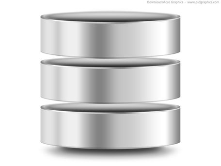 Silver computer database icon (PSD) Clipart Picture.
