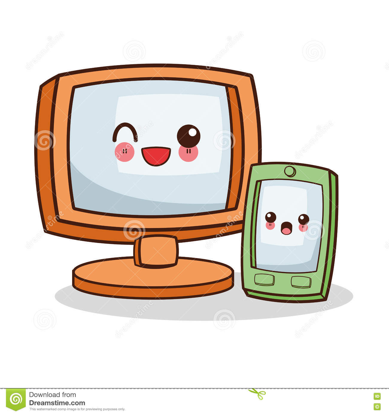 Isolated Kawaii Computer Design Stock Vector.