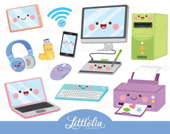 Technology kawaii clipart.