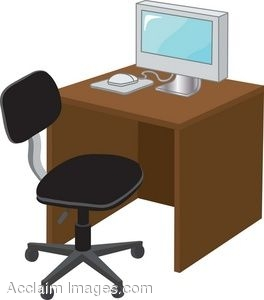 Clip Art Of A Computer Sitting On A Desk With A Chair.