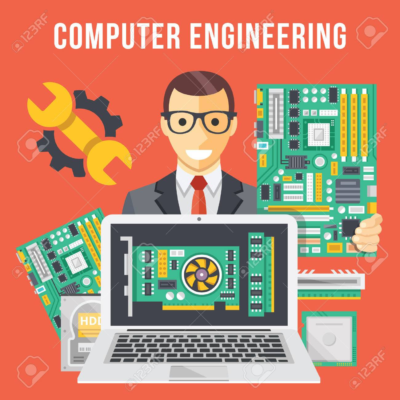 Computer engineering flat illustration concept.