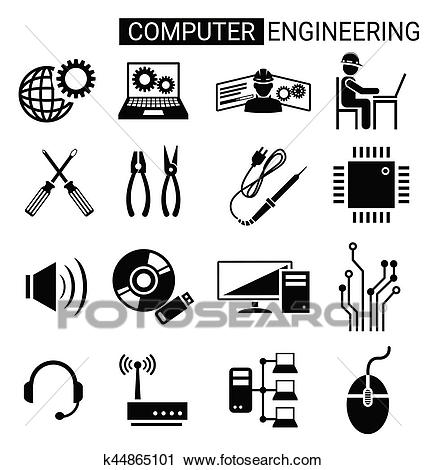 Set of computer engineering icon design for computer technician Clipart.