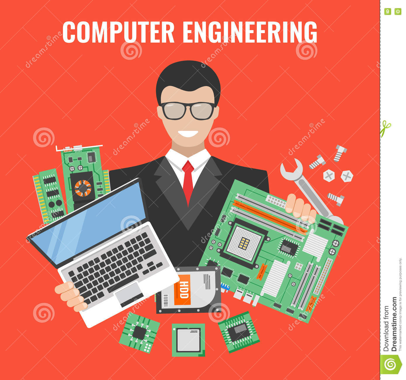 Computer Engineering Flyer stock vector. Illustration of person.