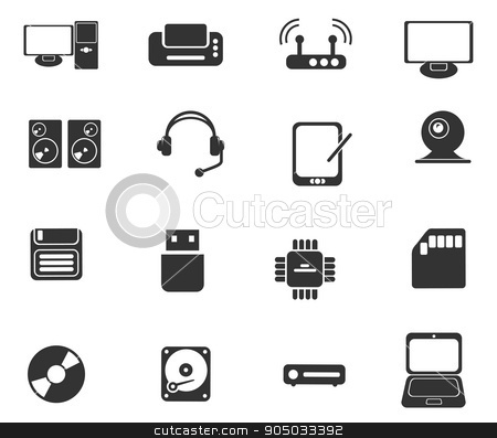 Computer equipment simple vector icons stock vector.