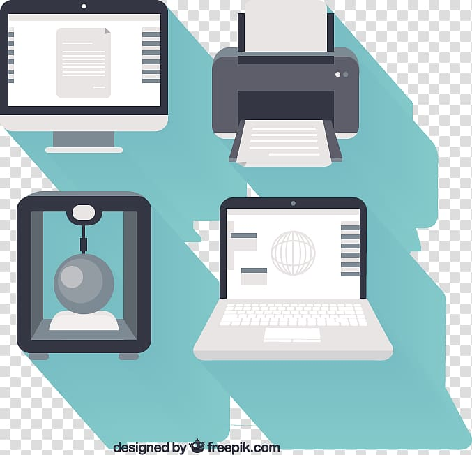 Printing Printer , Computer equipment flat design.