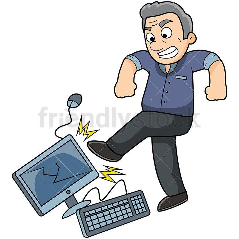 Angry Old Man Kicking Computer.