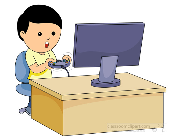 Children playing computer games clipart.