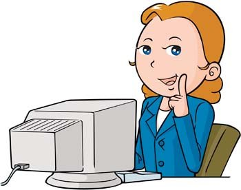 Girl On Computer Clipart.