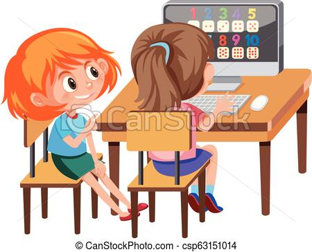 Girl learning math on computer.