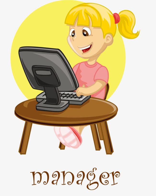 Girl Playing Computer.