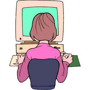Girl using computer clipart » Clipart Portal.