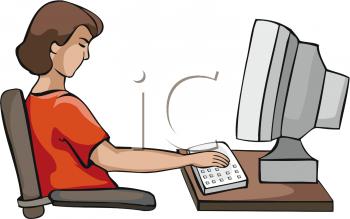 Teenage Girl Working on Computer.