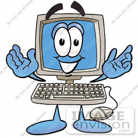 Clip Art Graphic of a Desktop Computer Cartoon Character With.