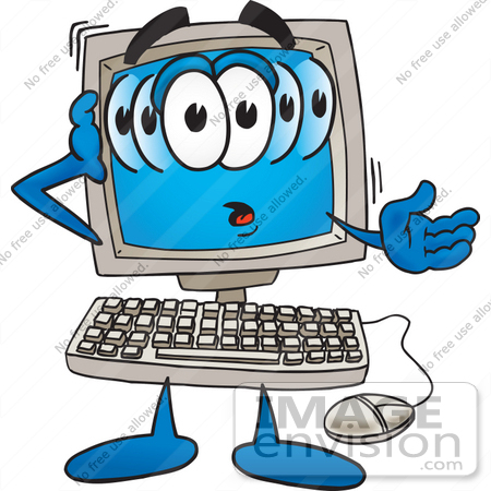 Clip Art Graphic of a Confused Desktop Computer Cartoon Character.