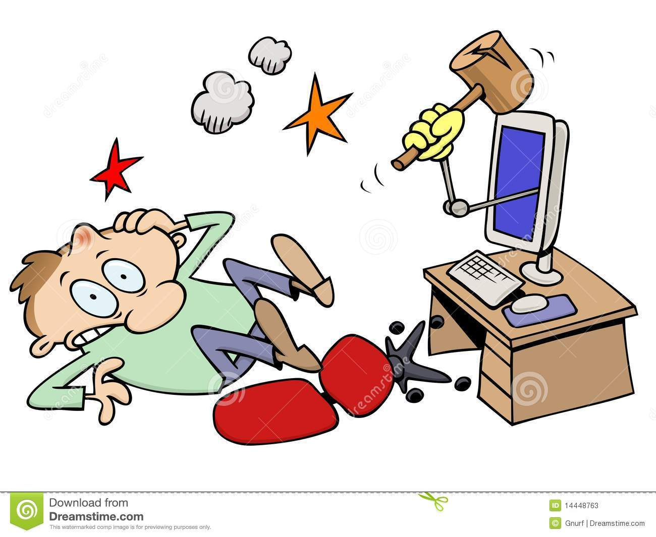 Knocked out computer guy stock vector. Illustration of computer.