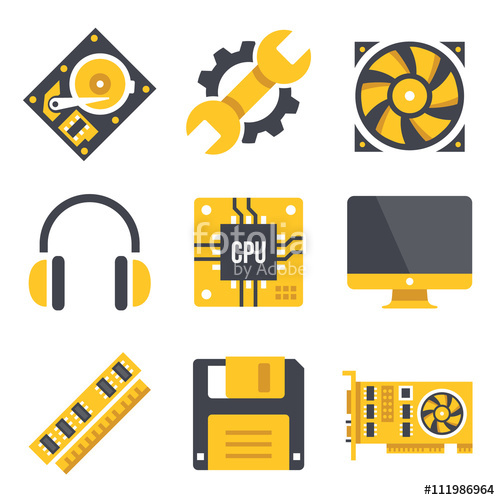 Vector computer hardware icons set. Black and yellow colors.