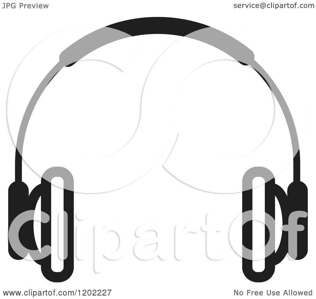 Clipart of a Black and White Wireless Computer Headphone Icon.
