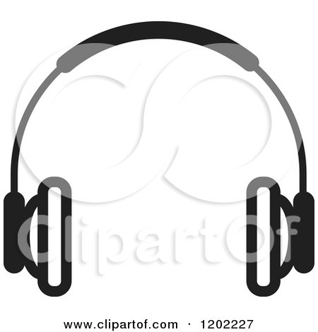 Clipart of a Black and White Headphones Icon.