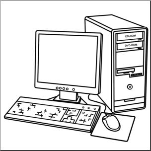 Clip Art: Computer: Desktop B&W I abcteach.com.