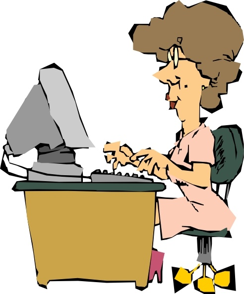 Woman Using A Computer clip art Free vector in Open office drawing.
