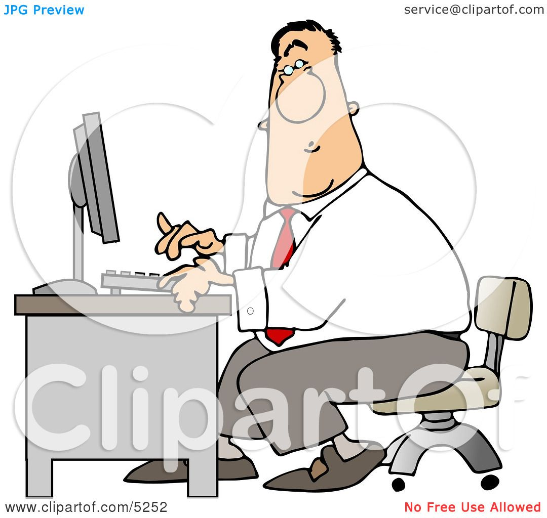 Man Typing On a Computer Keyboard In His Office at Work Clipart by.