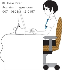 Clip Art Illustration of a Boy Typing at a Computer.