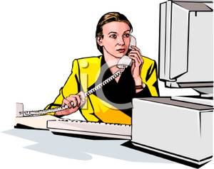 Cartoon Office Telephone Clipart.