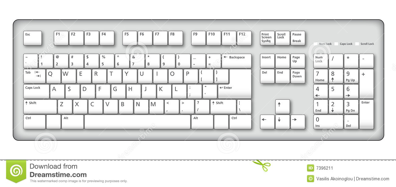 Computer Keyboard Black And White Clipart.