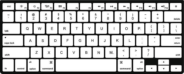 Black And White Computer Keyboard Clipart.