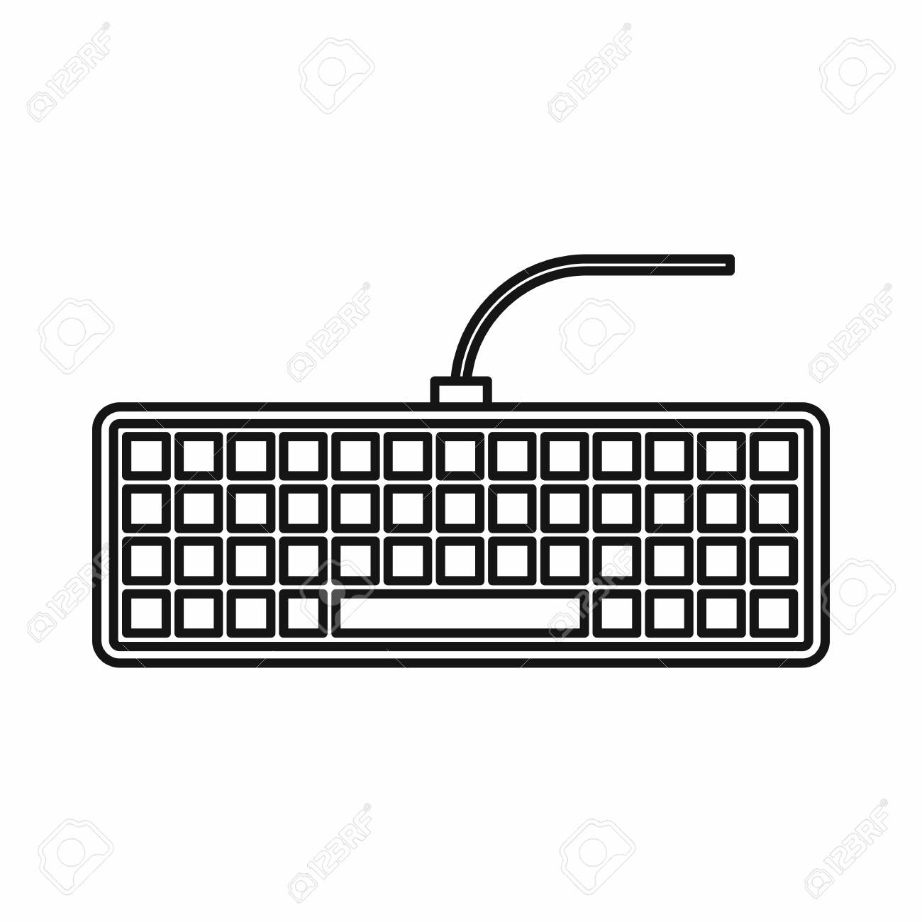 Black computer keyboard icon in outline style isolated vector...